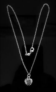 """925 SILVER PLATED FILIGREE HEART NECKLACE 18"""" CHAIN WEDDING GIFT VALENTINE"""