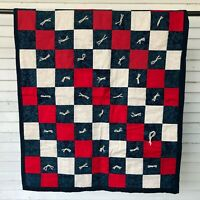 "Lovely Quilt Throw Blanket 37"" Color Block Yarn Hand Tied Blue Red Farmhouse"