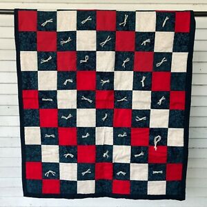 """Lovely Quilt Throw Blanket 37"""" Color Block Yarn Hand Tied Blue Red Farmhouse"""