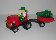 "CUSTOM LEGO ""GETTING THE CHRISTMAS TREE"", TRACTOR, CART,  MINIFIGURE, & TREE"