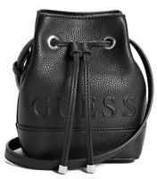 NWT GUESS DONOHUE HANDBAG Black Logo Bucket Crossbody Shoulder Bag GENUINE