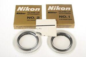 NIKON No. 1 & 2 Close Up Attachment/Filter 1.5 & 3.0 Dioptar BOXED As New Japan