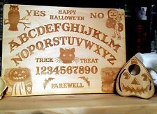 "Wooden Halloween Ouija Board & Planchette | Handmade 11x8"" Wood Spirit Board"