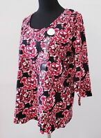 NWT Charter Club Women's Plus Size Red Multi Flower-Print Top Size 0X