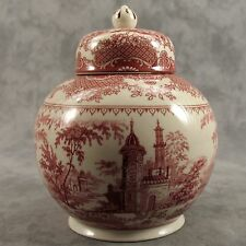 RED & CREAM TRANSFERWARE VICTORIAN COUNTRYSIDE TOILE CANISTER BISCUIT JAR