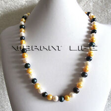 "24"" 9-11mm Multi Color Freshwater Pearl Necklace White Gold Peacock Jewelry U"