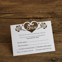 """50-Personalised """"Love"""" Roses Wedding Invitation RSVP cards,Wishing well cards"""