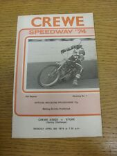 08/04/1974 Speedway Programme: Crewe v Stoke [Spring Challenge] (results/riders/