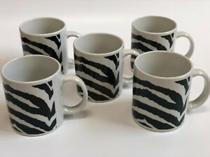 Set 5 Coffee Mugs Ceramic 10oz Zebra Black/White Tea Cups w/ Handle Pottery Barn