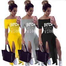 Fashion New Women Boat Neck Letter Print Short Sleeves Side Slit Casual Dress