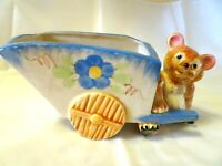 VINTAGE....HAND PAINTED....TEDDY BEAR PULLING A CART....PLANTER...JAPAN