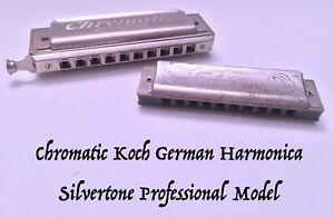 Vintage Chromatic Koch Slide Germany and Silvertone Professional Harmonicas
