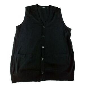 Liz Claiborne Mens Sweater Vest Black Size Large Button Front Knit Lightweight