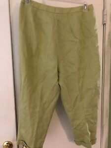 TALBOTS Womens Sz 14 Green Irish Linen Capri Cropped Pants Flat Front Lined