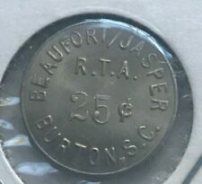 Burton South Carolina SC Beaufort Jasper RTA 25 Cent Fare Transportation Token