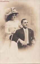 RPPC Woman + Man Smoking Cigar  Fancy Clothes Atlantic City NJ Albert Studio
