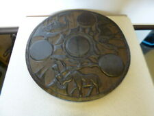 Lovely Large African Ethnic Carved Table Top - Elephant, Rhino & Antelope