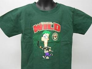 New #00 Minnesota Wild Phineas & Ferb NHL Kids Sizes S-M (4-5/6) Shirt