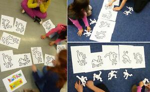 Kunstunterricht Kopiervorlagen Haring 5 Dancing Man bewegliche Schablonen