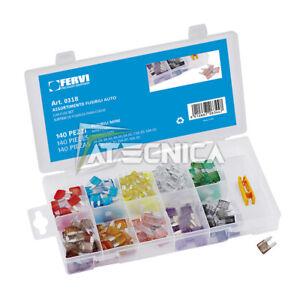 Assortment Set Mini Fuses Car 140pz Fervi 0318 IN Oraganizer Of Plastic