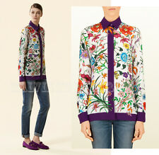 $1,150 GUCCI SHIRT SILK CREPE DE CHINE BLOUSE FLORA LOGO PRINT TOP IT 38 US 2