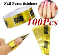 100 X Nail Art Form Stickers Self adhesive Extension UV Builder Tips-Gel Forms