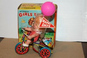 NICE VINTAGE WIND UP  GIRL'S TRICYCLE with BOX