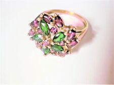 Ring Gold 375 with Amethyst and Chrome Diopside, 4,62 G