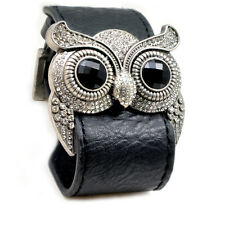 Accents Kingdom Silver Color Owl Leather Cuff Bracelet Clear Crystal