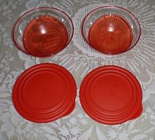 Tupperware Eleganzia Schüsseln - 2 x 600 ml - transparent / rot - NEU