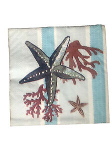 2 Starfish / Nautical/Seaside Paper Napkins for Decoupage 33 cm