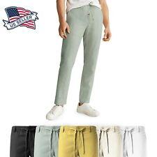 Mens Premium Soft Linen Pants Wrinkle Resistant Flat Front Classic Slacks