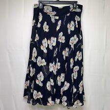 Ann Taylor Women's Navy Blue Multicolor Floral Print Midi Flare Skirt Size 8
