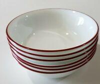 SIX Corelle Splendor Bandhani Crimson Trelli Soup Cereal Bowls White Red Rim