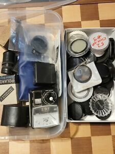 Camera filters lot with miscellaneous equipment. (UNTESTED SOLD AS IS)