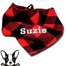 Personalised Embroidered Dog Bandana Black & Red Check Tie on Large Dog