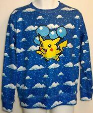 Pokemon Pixel Pikachu Blue Baloons Medium Long Sleeve Sweater