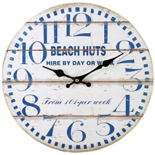 Vintage Large 34cm Beach Huts Nautical Wooden Wall Clock Chic Shabby White Blue