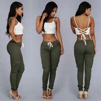 Ladies Cargo Skinny Women's Casual New Pencil Long Pants Jeggings High Waist