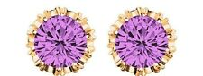 925 Sterling Silver CZ Simulated Purple Crown Wedding Stud Earrings Gold/Silver