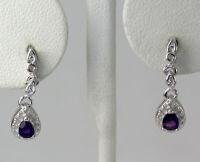 Sterling Silver Pear Shaped Amethyst Drop Dangle Earrings