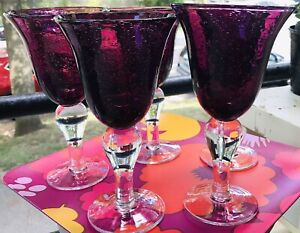 2 Artland Iris Plum Purple Water Wine Bubble Glass Clear Bulbous Stem Goblets