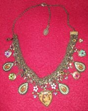 MICHAL NEGRIN Flower Embellished Necklace Crystal Lockets & Multicolored & Gold