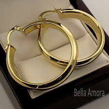 Chunky Yellow Gold Pltd Smooth Round Hoop Creole Diameter 35mm / 3.5cms Earrings