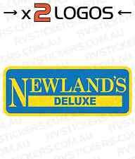2x NEWLANDS DELUXE YELLOW vintage, retro Caravan decal, sticker