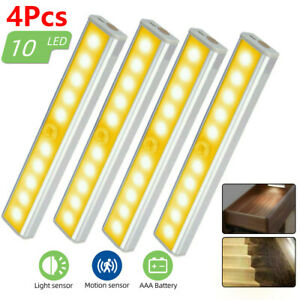 4 Pack 10 LED PIR Motion Sensor Night Light Cabinet Lamp Battery Operated Indoor