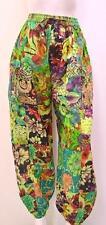 Talla Grande Hippy Boho Retro Floral Patchwork harén pantalones verde 20 22 24