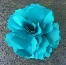 "Girls Womens 3""satin Flower Hair Clip, Brooch, corsage .TEAL..UK SELLER"