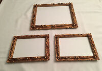 VINTAGE PICTURE FRAME SET 3 GOLD ORNATE I.I.C. 1973 HOLLYWOOD REGENCY Used