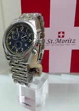 *ROTARY* MEN'S ST MORITZ SWISS MADE WATCH CHRONOGRAPH STAINLESS STEEL RRP£299